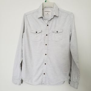 Aeropostale Button Front Shirt Mens Medium Gray M